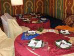 In our restaurant tent we serve breakfast, lunch, 3 course dinner, tea and snacks