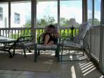 Relaxing on the screened porch