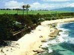 Ho'okipa Beach, a 4 min. drive.  Great for swimming, snorkeling, encountering turtles, surfing and l