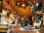 monster taxidermy display inside main lodge