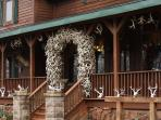 amazing antler archway feature off the main deck