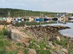 watch the activities of a busy fishing harbour from the front step!