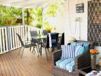 Have a sunset dinner on the covered verandah