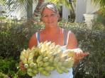 Debbie's first crop of bananas from her garden.