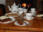 Tea beside the cosy logburner