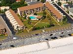 Blue Surf Townhomes as seen from the sky. . .