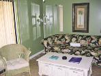 1st Floor living room w/queen sleeper sofa for the kids.