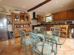 Views over pool area from kitchen, Range Master oven, Wine chiller, Italian Table and chairs