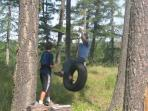 Tire swing. There's a tree fort too.