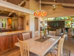 Interior dining area. New chef's kitchen with mango woodwork & art lighting