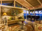 Living room view to Ocean. Clear story windows & floor to ceiling glass to ocean