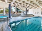Indoor heated swimming pool with two hot tubs. Also sauna and steam room.