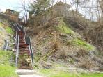 City stairs from the property leading down to the Rec & Aquatics center and Main Street Deadwood