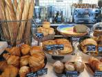 Fresh breads and pastries are available from Wildflour Cafe + Bakery