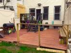 Backyard with balcony