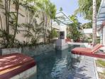 A second pool is available for guests staying at the Villa. Shared pool in quiet courtyard.