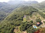 Aerial view of villa and her beautiful surroundings