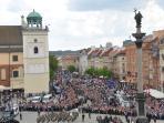 King Zsigmond Column and Krakowskie Przedmiescie - window view