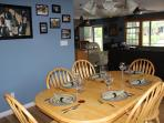 The dining area. There are 2 leaves and additional seating for up to 10