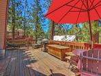You'll love relaxing on the spacious wooden deck while enjoying the surrounding scenery.