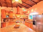 This is a large kitchen with space to move around with large bread board. Enjoy
