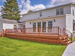 This classic country Gaylord vacation rental home features an exceptionally large private deck off the kitchen