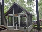 Our screened gazebo in the back yard is perfect to relax in the morning or after a fun lake day.