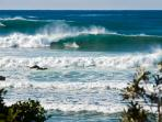 Another surfing scene as guest watch the surfers ride the big swell in front of your accommodation