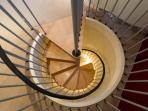 spiral stairs to bedroom one
