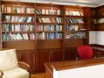 The well stocked library/study area. Lots of novels, travel books and DVDs. Great for laptops