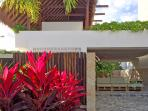 tropical plants and local natural materials
