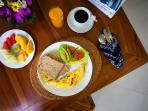 complimentary simple breakfast.  fruit, eggs/toast, juice,  coffee/tea