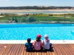 Private, heated pool, all fenced for kids protection, kids area