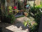 delightful rear garden full of Cornish plants and BBQ