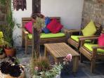 garden seating area, sun trap