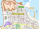 Map of Rethymno town center, displaying the property's convenient location