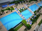 A view of the swimming pools from the 16th floor