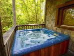 Hot tub located on porch