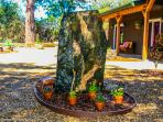 Granite Rock at entrance to front of Black Oak Bed and Breakfast