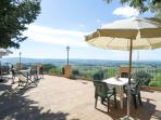 the panoramic terrace with more than 180° view on the Tuscan country side. Stunning!