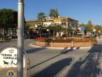 The roundabout in La Cala - everything you need is less than 100m from here - shops, bars, beach!