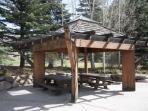 Outdoor common picnic area.