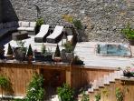 Private garden, sun terrace and sunken jacuzzi