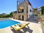 Aegean 220 and its pool and outside living spaces