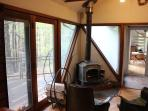 Wood stove can take the chill off on a summer evening or keep you warm and cozy in the coldest temps