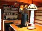 Pantry shelves and dishes, breakfast and snack counter