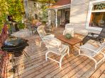650 Sq Ft deck with gas and charcoal grills and seating for 10-12