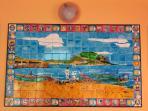 Veranda: dipinto murale su maiolica (La marina di Palermo vista da Sant'Erasmo)