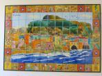 Portico: quadro murale di maioliche dipinte a mano (Cefalù vista dal mare)