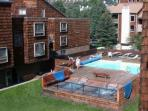 View of the heated pool and two hot tubs at Breakaway West.